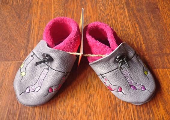 Chaussons bébé cuir souple fille