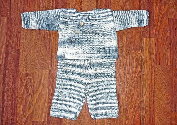 Ensemble bébé laine tricoté main