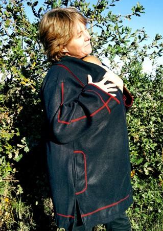 Manteau noir porte-bébé