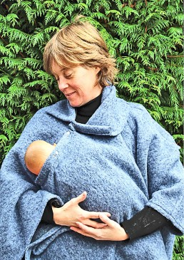 Poncho laine d'allaitement